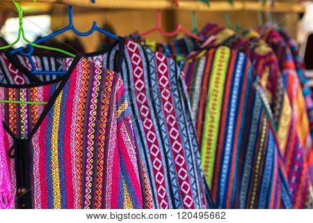 Cloth handicraft (hand-woven) colorful hilltribe in northern Thailand.