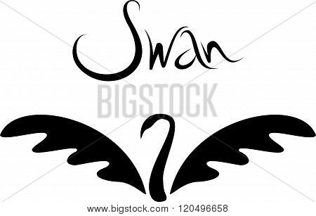 Vector Minimalistic Swan Logo. Beautiful Black Swan Tattoo