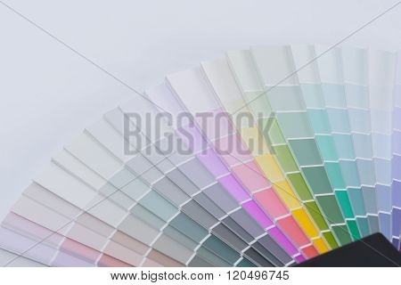 Color chart guide for renovation on white background