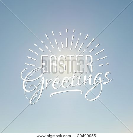 Easter greetings sign. Easter wish overlay, lettering label design. Retro holiday badge. Hand letter