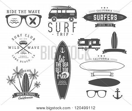 Set of Vintage Surfing Graphics and Emblems for web design or print. Surfer, beach style logo design