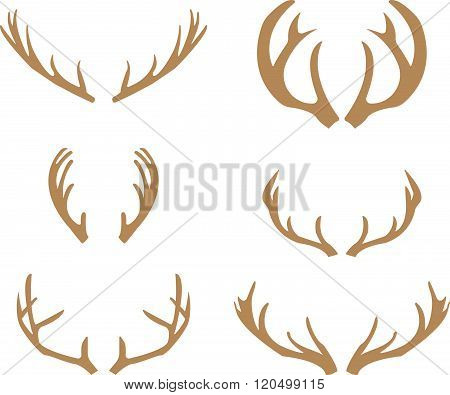 Brown silhouettes of deer antlers-vector, white background