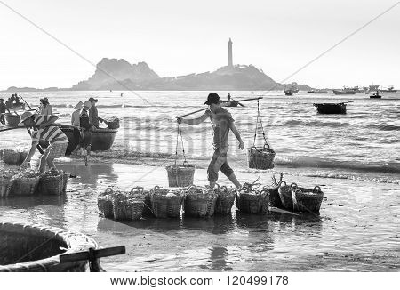 Youth burden anchovy fishing village on the Market