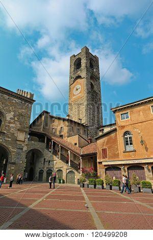 BERGAMO, LOMBARDY, ITALY - APRIL 14, 2014:Bergamo Old Town. Piazza Vecchia. Town hall