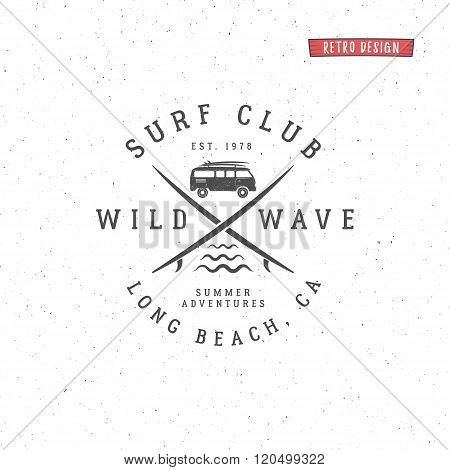 Set of Vintage Surfing Graphics and Emblem for web design or print. Surfer, beach style logo design.