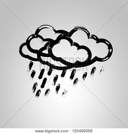 Abstract rain cloud - vector illustration.