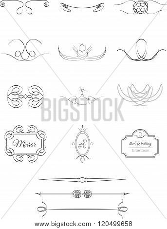 vector objects vintage calligraphic design set isolated on white background