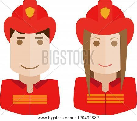 Illustration of the firemen on a white background avatars set womand and man