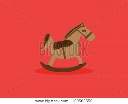 Horse toy flat style icon. Vector illustration.