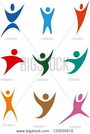 vector sport people symbols set, can be used in logo
