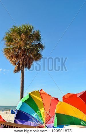 Umbrellas on Clearwater Beach in Florida