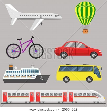 Travel Transport Set: Plane, Aerostat, Bicycle, Car, Ship, Bus, Train