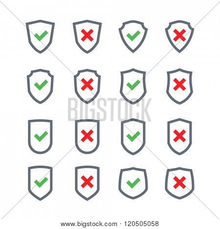 Set of shields with checkmark symbol in flat design style isolated on a white background. Vector web icons