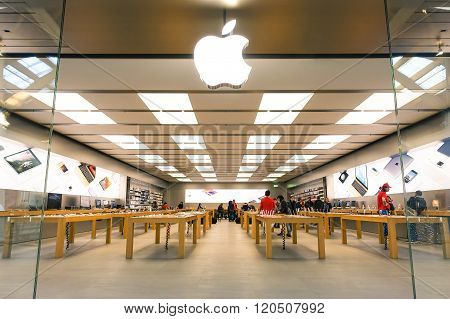 Rimini, Italy - December 05, 2015: Apple Store Located In A Shopping Center