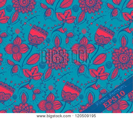 Repeating Floral Pattern. Blue And Fuchsia
