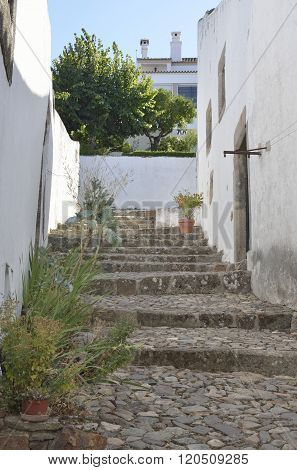Cobbled Stairs In Medieval Village