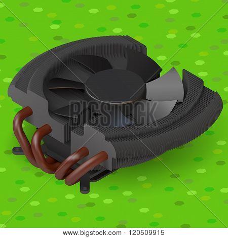 fan cooler compurer component isometric