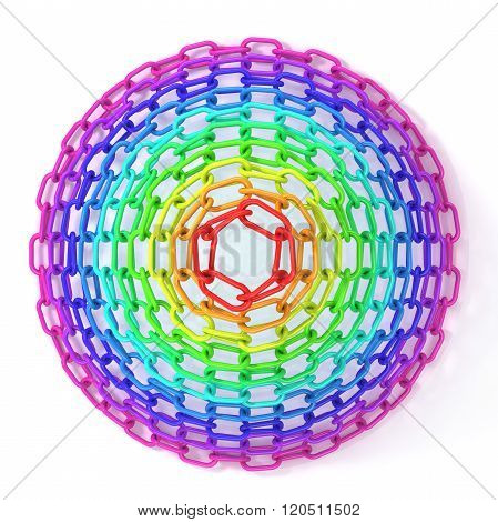 Colorful concentric circles made of chain isolated on white. Top view of cone