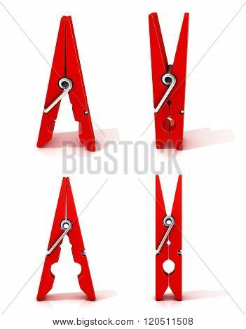 Set of red clothes pins. Opened and closed standing. Isolated on white background