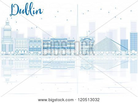 Outline Dublin skyline with blue buildings and reflections. Business travel and tourism concept with place for text. Image for presentation, banner, placard and web site.