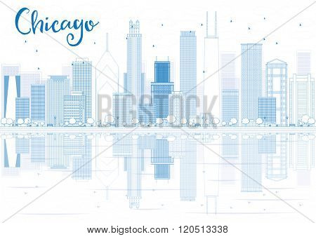 Outline Chicago skyline with blue buildings and reflections. Business travel and tourism concept with place for text. Image for presentation, banner, placard and web site.