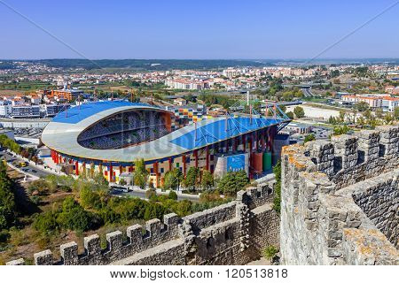 Leiria, Portugal - October 12, 2015: Dr. Magalhaes Pessoa Stadium, also known as Leiria Municipal Soccer Stadium seen from the castle.