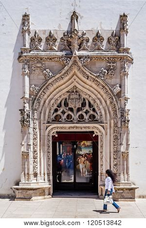 Tomar, Portugal - July 18, 2015: Flamboyant Gothic Portal of the Sao Joao Baptista Church. Templar knights church.