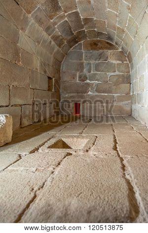 Santa Maria da Feira, Portugal - October 19, 2015: Interior of the cistern of the Feira Castle
