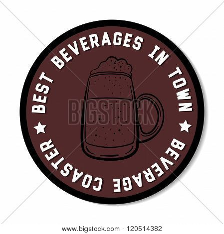 Round Beverage Coaster Black