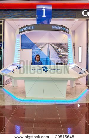 DUBAI, UAE - APRIL 18, 2014: airport help desk. Dubai International Airport is an international airport serving Dubai. It is a major airline hub in the Middle East, and the main airport of Dubai.