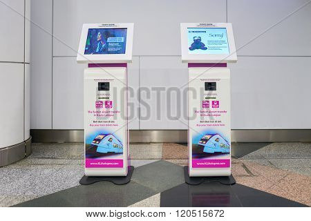 KUALA LUMPUR-MAY 06, 2016: interior of Kuala Lumpur International Airport (KLIA) - Malaysia's main international airport and one of the major airports of South East Asia