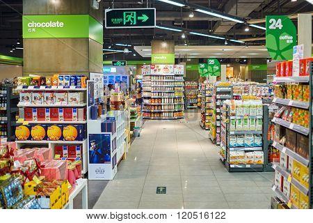SHENZHEN, CHINA - JANUARY 22, 2015: interior of blt market in ShenZhen. blt an acronym of