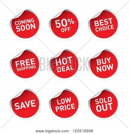 Red Vector Stickers And Text Hot Deal, Buy Now, Best Choice, Save