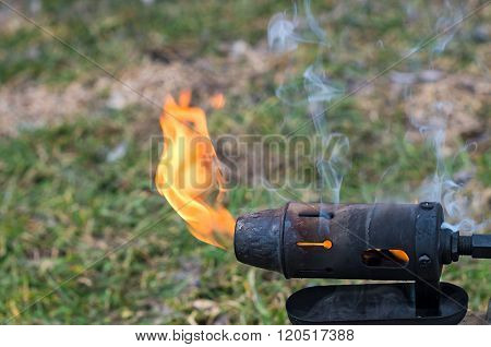 flame of a blowtorch