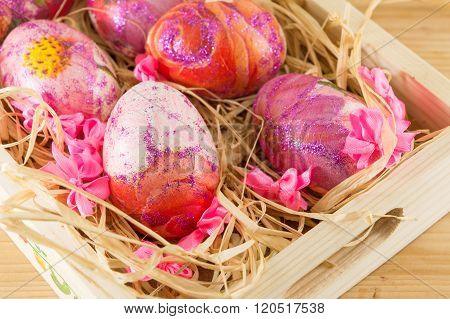 Decorated Easter Eggs In A Box