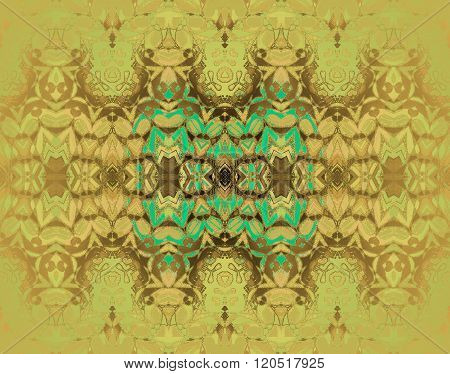 Seamless ornaments yellow gold brown turquoise