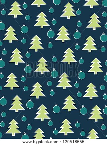 Bulbs and christmas trees over solid blue background
