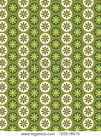 Green and white flower pattern over green color background