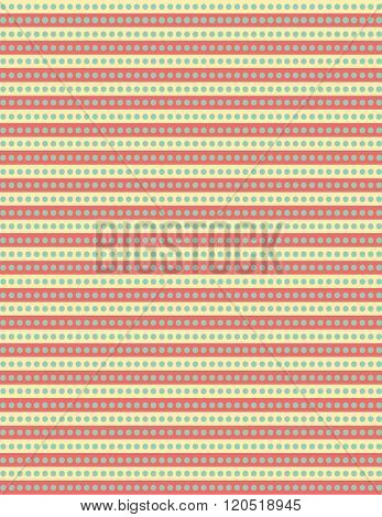Green dot repeating pattern over yellow and pink background