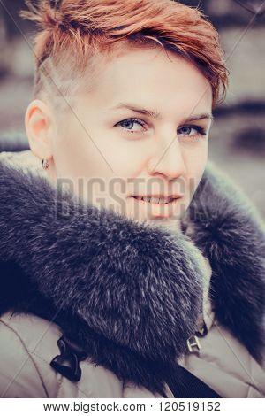 Fashion portrait of young beautiful stilish woman. Bob short hair. City lifestyle. Street fashion concept.