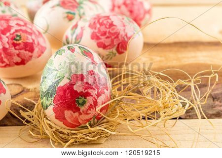 Decorated Easter Eggs On The Table