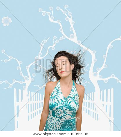 Woman posing against man made background