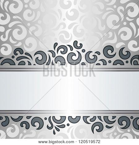 Silver shiny vintage pattern background