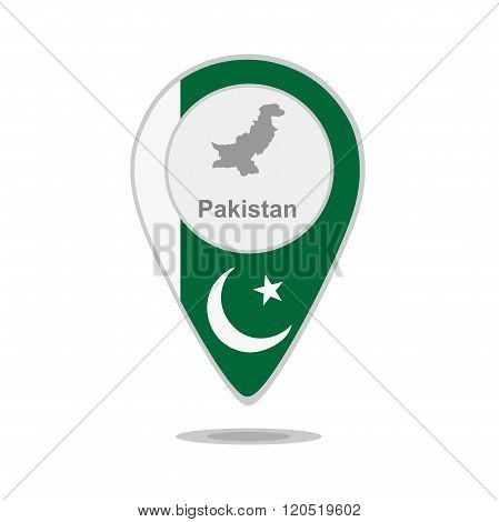 A pointer with map and flag of Pakistan