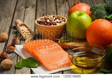 Selection of products that is good for the heart and blood vessels.