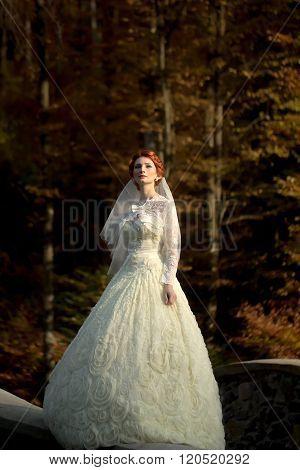 Elegant Pensive Bride Outdoor