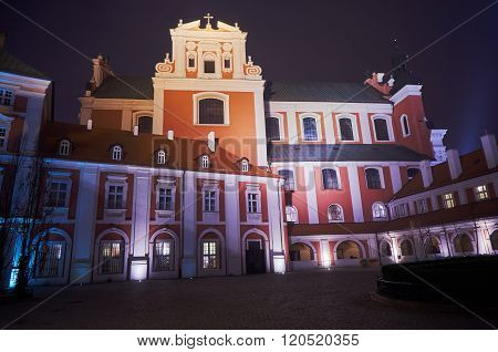 Baroque buildings of the former convent during the night