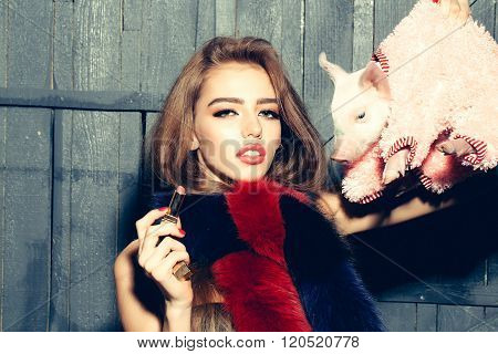 Woman With Pig And Lipstick