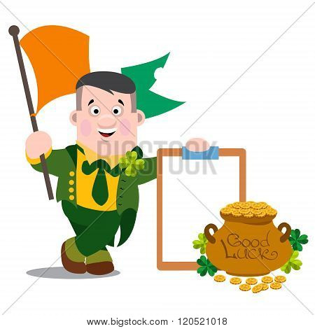 A man with the flag of Ireland, a tablet and a pot of gold. The festive character in cartoon style.