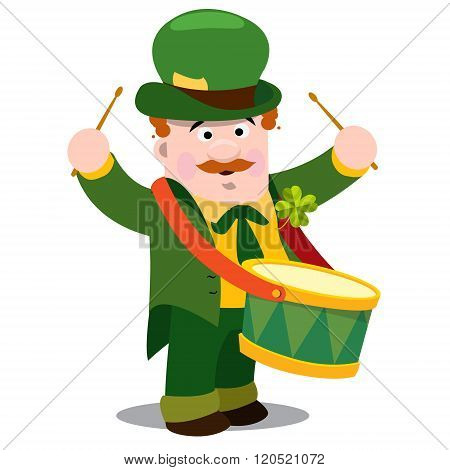 A man withdrum. The festive character in cartoon style. Congratulations to the St. Patrick's Day.